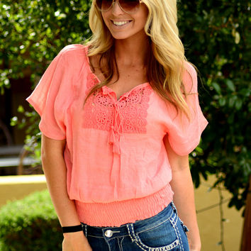CRUSHING ON YOU CORAL TOP
