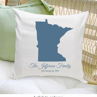 Personalized Home State Family Throw Pillow Personalized Home Decor Housewarming Gift Wedding Gift Bridal Shower Gift
