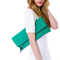 Kelly green leather portfolio clutch by MarketaNewYorkShop on Etsy