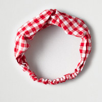 AEO Red Gingham Headband, Red