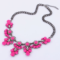 Statement Necklace Bib necklace hot pink Flower necklace bubble necklace bridal jewlery for wedding Rose necklace hot pink jewelry