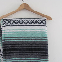 25% OFF STOREWIDE! Vintage mint green and black Mexican Striped Ethnic Lap Blanket