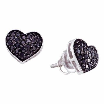 10kt White Gold Women's Round Black Color Enhanced Diamond Heart Cluster Earrings 3-8 Cttw - FREE Shipping (US/CAN)