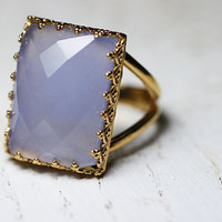 Rectangular golden ring with gemstone chalcedony. Golden ring. Gemstone ring. Ring with chalcedony. Rectangular ring. Vintage ring.Blue ring