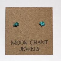 Tiny Turquoise Howlite Natural Crystal Stone Stud Earring Posts - Hypoallergenic Surgical Steel Posts/Backs - Handmade - One of a Kind