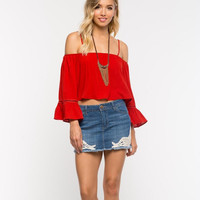Red Off Shoulder Trumpet Sleeve Crop Top