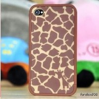 Fashion Giraffe Pattern with Flocking Premium Protective Case for iPhone 4 4S