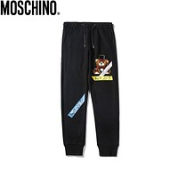 Moschino 2019 new digital printed cotton trousers Black