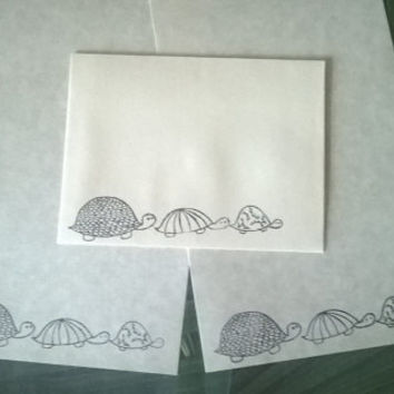 Turtle stationery Set 1 5 10 parchment paper letter writing and envelope hand stamped Turtle handmade card adult coloring