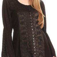 Sakkas Soraya Embroidered Eyelet Button Down Blouse Top with Long Sleeves and Ties