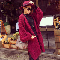 2016 Winter New Women Korean Twist Loose Knit Student In The Spring and Autumn Long Sweater Cardigan Jacket
