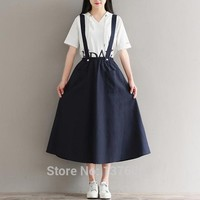 Mori Girls Suspender dress Japanese Lolita Women Prairie Chic Casual Overalls dresses Long Style Office Lady Costume