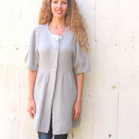 Long cardigan Gray romantic Upcycled Sweater Womens size Large maxi sweater jacket Handmade chic altered refashioned clothing by wearlovenow