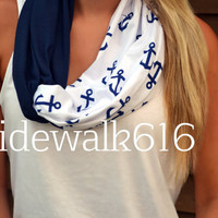 Navy Anchor Twist Infinity Scarf