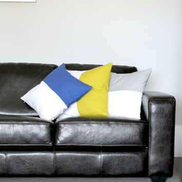 Ocean Blue & White color block pillow cover, white cushion cover, industrial decor, two tone pillow cover, lumber pillow