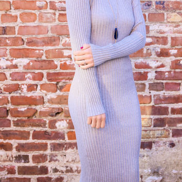 Cold Weather Dreams Gray Ribbed Midi Sweater Dress