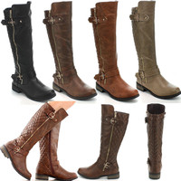 Women's Hot Fashion Knee High Riding Flat Heel Boots Shoes Faux Leather Buckle