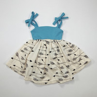 Arrows Organic Summer Dress in Turquoise for Babies