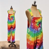 80s Tie Dye Bib Overalls • Dungarees • Vintage Overalls • Jumpsuit • Tie Dye Overalls • Grunge • Salopettes • Small