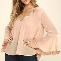 Rolling Pastures Light Peach Long Sleeve Top