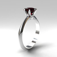 red garnet engagement ring, solitaire ring, unique engagement, red gem, garnet engagement, white gold, yellow gold, red engagement, custom