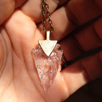 Arrowhead necklace  Clear Your Mind glass flint stone tribal necklace made to order customizable