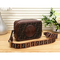 "Hot Sale ""FENDI"" Popular Women Shopping Leather Shoulder Bag Crossbody Satchel Coffee"