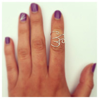 OM Symbol Midi Ring, Adjustable, Silver