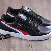 PUMA : CLYDE Red and white blue color striped shoe casual shoes