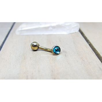 Titanium 14g curved barbell VCH navel piercing bar internally threaded hypoallergenic pick your length color