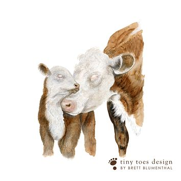 Mom and Baby Hereford Cow Print