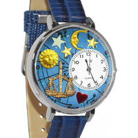 Libra Royal Blue Leather And Silvertone Watch