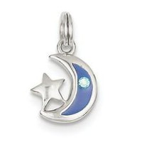 Star and Moon Charm in Sterling Silver