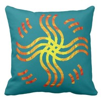 Shimmering Tribal Sun Throw Pillow