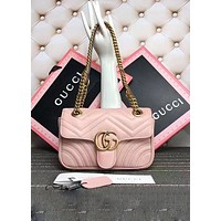 GUCCI Fashion Women Leather Handbag Shoulder Bag Crossbody Satchel Pink