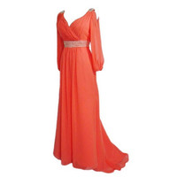 A-line V-neck Long-sleeve Floor-length Chiffon Bridesmaid Dress With Beading Free Shipping