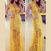 Women Lace Sexy Maxi Dresses Yellow Back Hollow Out Floral Mandarin Collar vestidos Short Sleeve Party Vintage Dress DR669