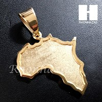 Mens 316L Stainless steel Gold Silver Africa Small map Pendant SS010