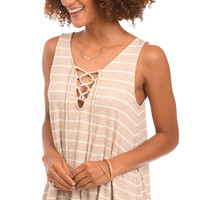 Tied and True Striped Lace Up Tank Top