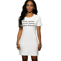 Letter Printed Short Sleeve Body-con Dress