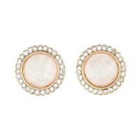 Ivory Rhinestone-Trimmed Gem Earrings by Charlotte Russe