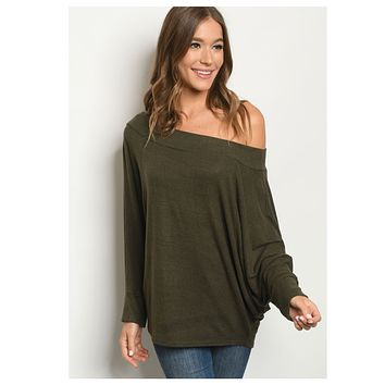 BLACK FRIDAY SPECIAL! Cozy Cute Wide Neck Dark Olive Sweater Top