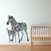 Baby and mama zebra wall decal, wall sticker, decal, wall graphic, living room decal, vinyl decal, vinyl graphic wall decal, home decor