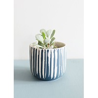 "Small Blue Flower Pot - 3.5"" Tall"