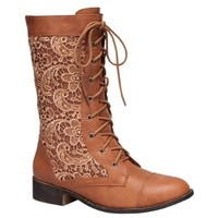 Top Moda LA-30 Women's Crochet Lace Up Mid-Calf Boot, Color:TAN, Size:5.5