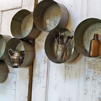 Galvanized metal wall sculpture and cubby geometric circle shelf wall and table decor Anita Spero