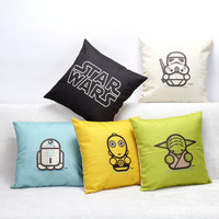 Hot Selling Cartoon Star Wars Series Cotton Linen Throw Pillow Sofa Office Back Cushion Baby Room Decorative