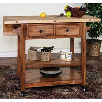 Sunny Designs Butcher Block Table with Drop Leaf In Rustic Oak