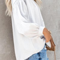White Inspired Button Down Peasant Blouse Top