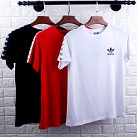 Adidas Tide brand men and women models chest small logo breathable sports casual round neck T-shirt